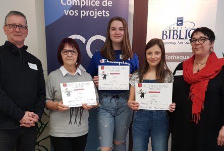 Finale régionale de la Dictée des écrivains : Anaëlle Déraps, Frédérique Turcotte ainsi qu'Huguette Néron récompensées