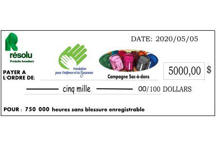 750 000 heures sans accident : PFR Alma fait don de 10 000 $ à des organismes communautaires