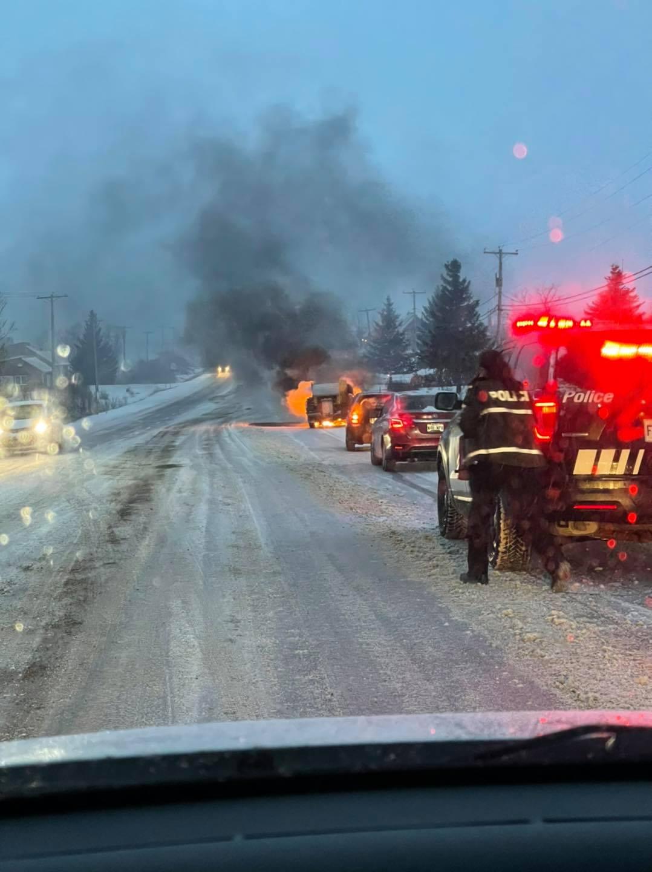 Camion en feu à Saint-Cœur-de-Marie