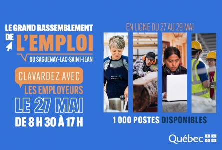 Le Grand Rassemblement de L'emploi du Saguenay-Lac-Saint-Jean – En ligne du 27 au 29 mai