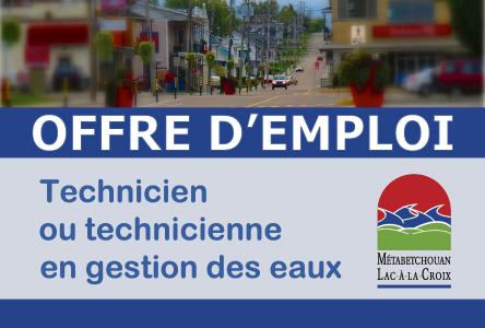 Métabetchouan-Lac-à-la-Croix est à la recherche d'un(e) technicien(ne) en gestion des eaux