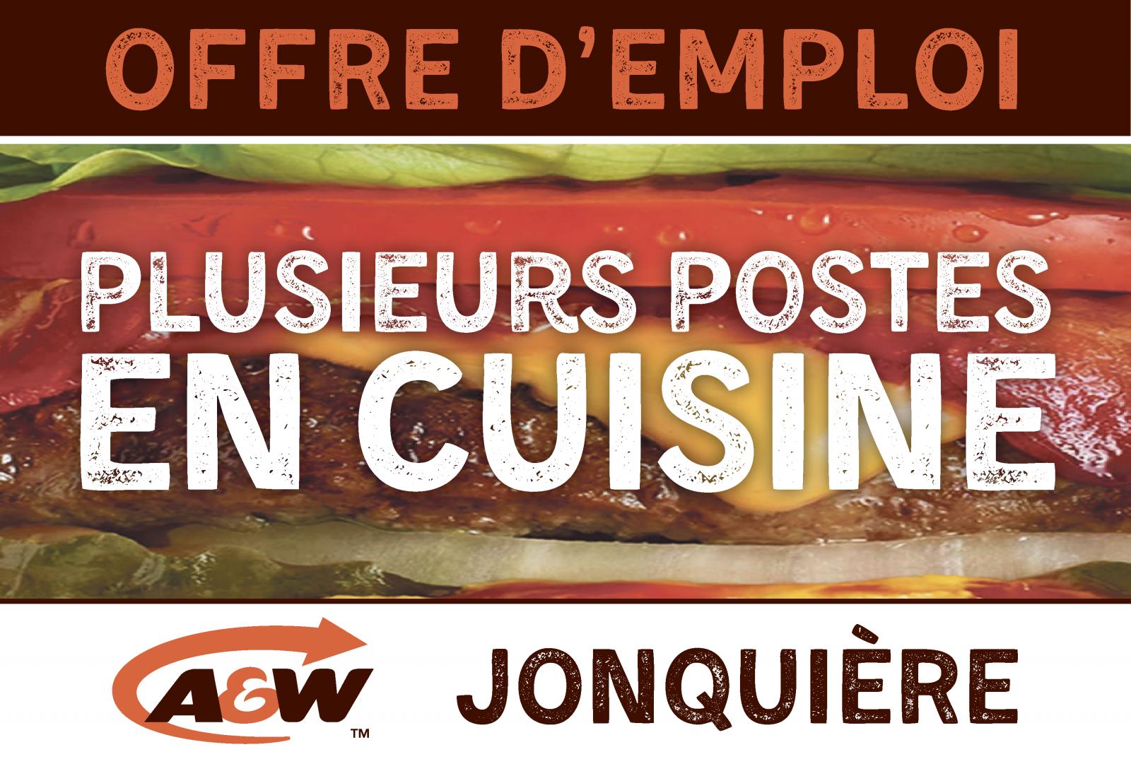 A&W Jonquière est à la recherche de plusieurs personnes pour combler des postes en cuisine