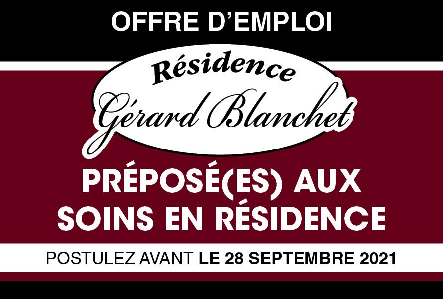 La Résidence Gérard Blanchet recherche des préposé(e)s aux soins en résidence