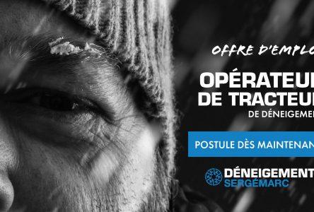 Déneigement Sergémarc est à la recherche d'opératrices et d'opérateurs